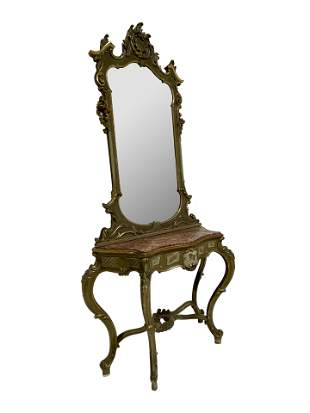 French Marble Top Console and Mirror