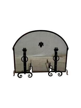Gothic Iron Fireplace Set