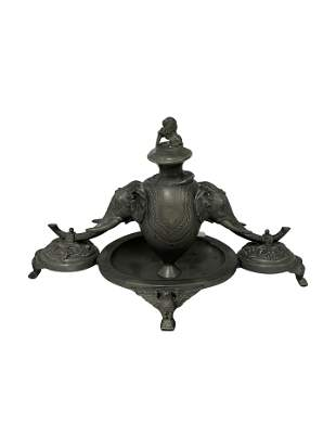 Figural Pewter Inkwell