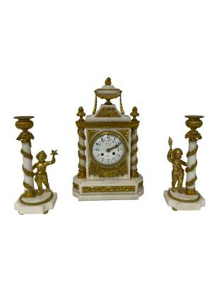 French Marble and Bronze Clock Set - 3 Piece
