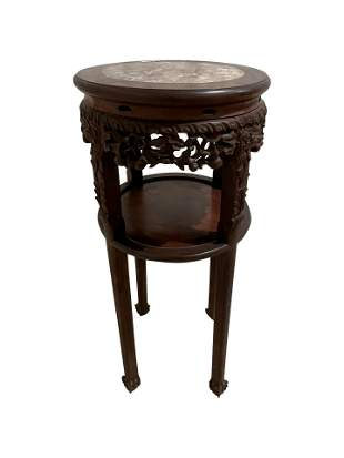 Carved Chinese Teak and Marble Stand