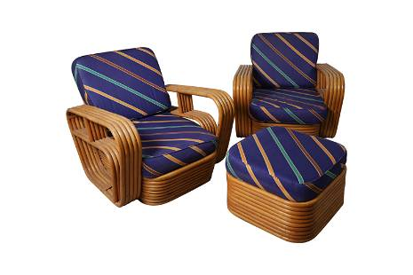 Paul Frankl - Rattan Lounge Chairs and Ottoman