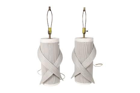 Rattan Lamps - Pair