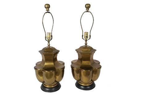 """Brass """"Clover"""" Lamps - Pair"""