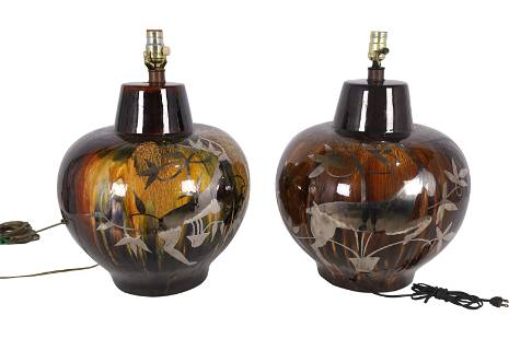 Silver Deposit Pottery Lamps - Pair