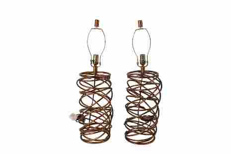 Gilt Metal Woven Lamps - Pair