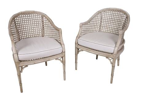 Faux Bamboo Hollywood Regency Chairs
