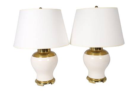 Brass and Porcelain Lamps - Pair