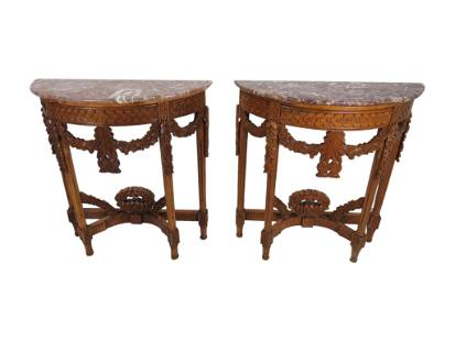 Contemporary Carved Marble Top Consoles