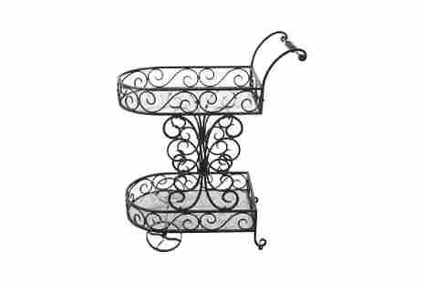 Ornate Wrought Iron Tea Cart