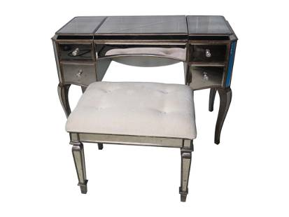 Hollywood Regency Style Vanity and Bench