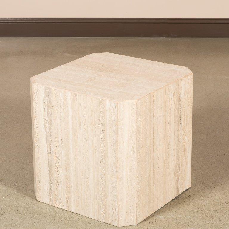 Italian Travertine Marble Side Table