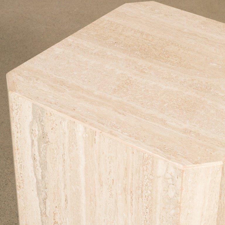 Italian Travertine Marble Side Table - 2