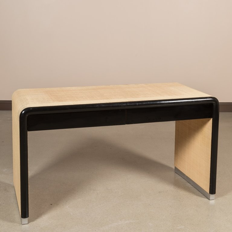 Linen Wrapped Desk After Karl Springer