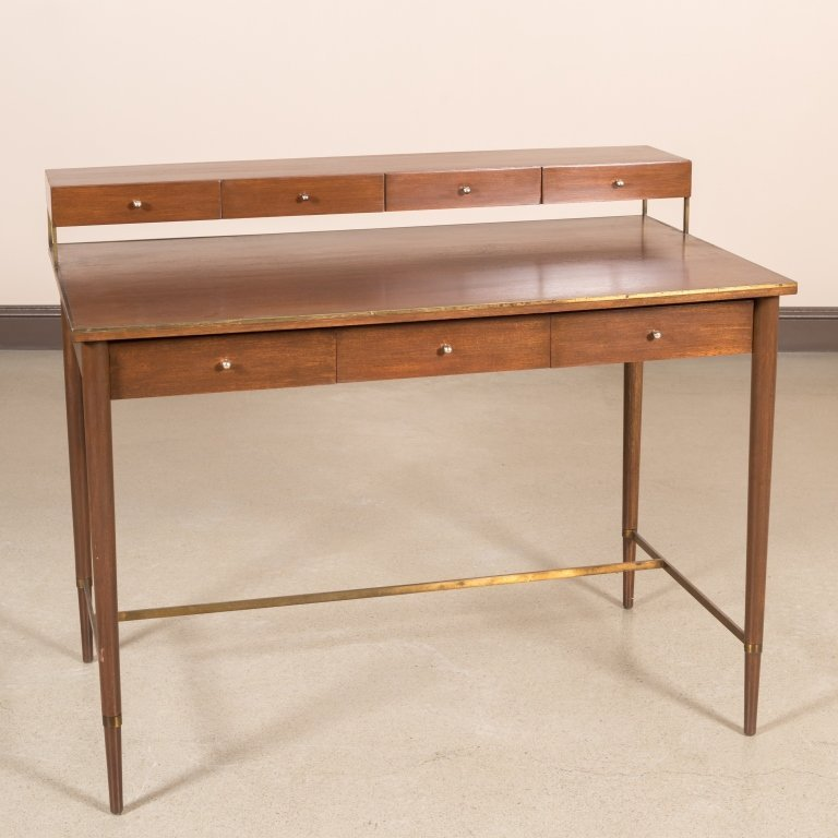 Walnut Desk with Brass Stretcher - After Calvin