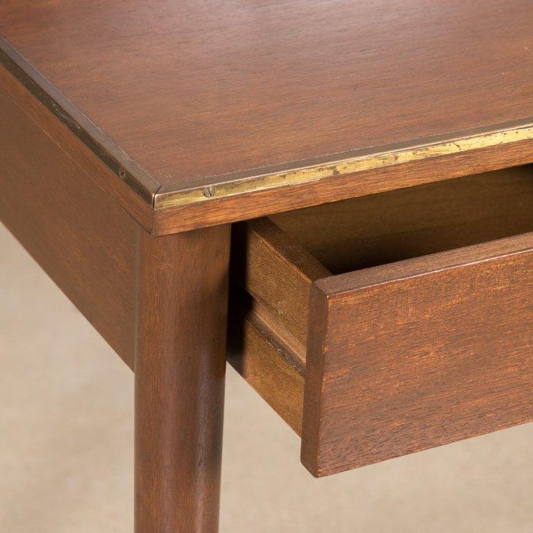 Walnut Desk with Brass Stretcher - After Calvin - 2