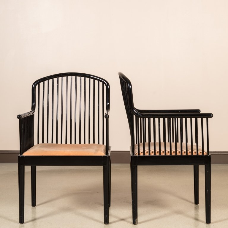 """Pair Stendig """"Andover"""" Black Lacquered Arm Chairs"""