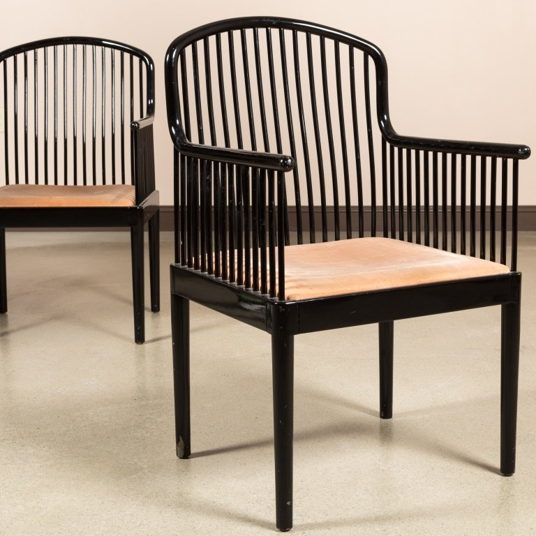"""Pair Stendig """"Andover"""" Black Lacquered Arm Chairs - 2"""