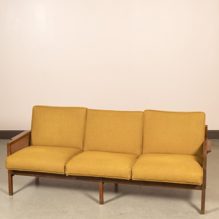 Modern Walnut Sofa with Caned Arms