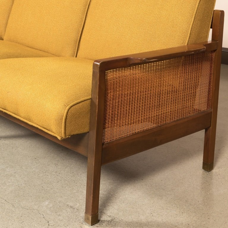 Modern Walnut Sofa with Caned Arms - 2