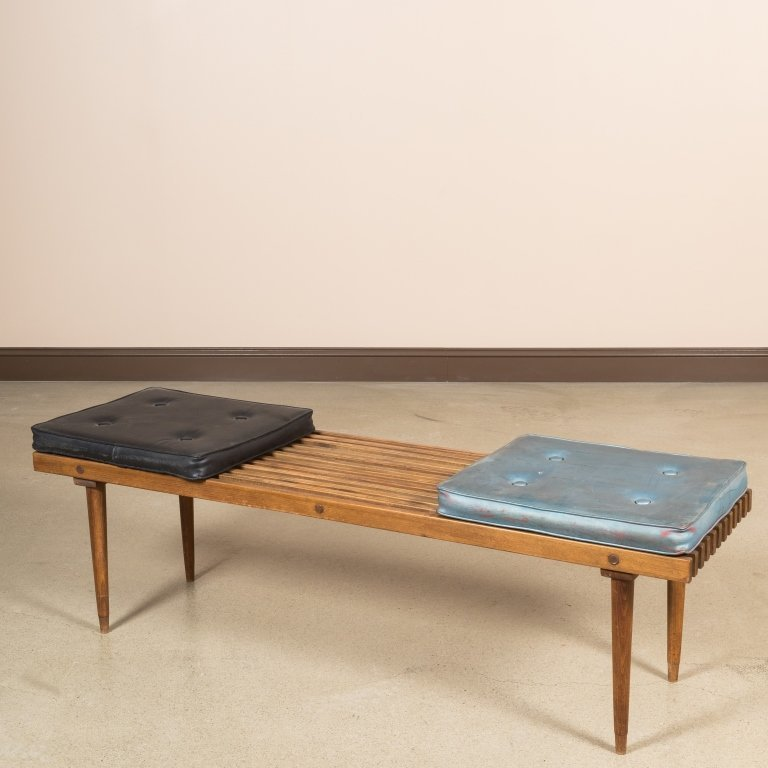 Slatted Eames Style Bench with Original Cushions