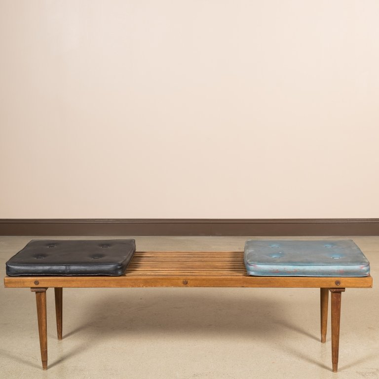Slatted Eames Style Bench with Original Cushions - 3