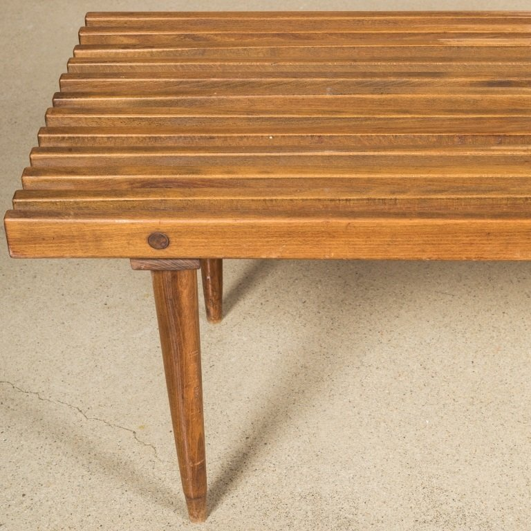 Slatted Eames Style Bench with Original Cushions - 4