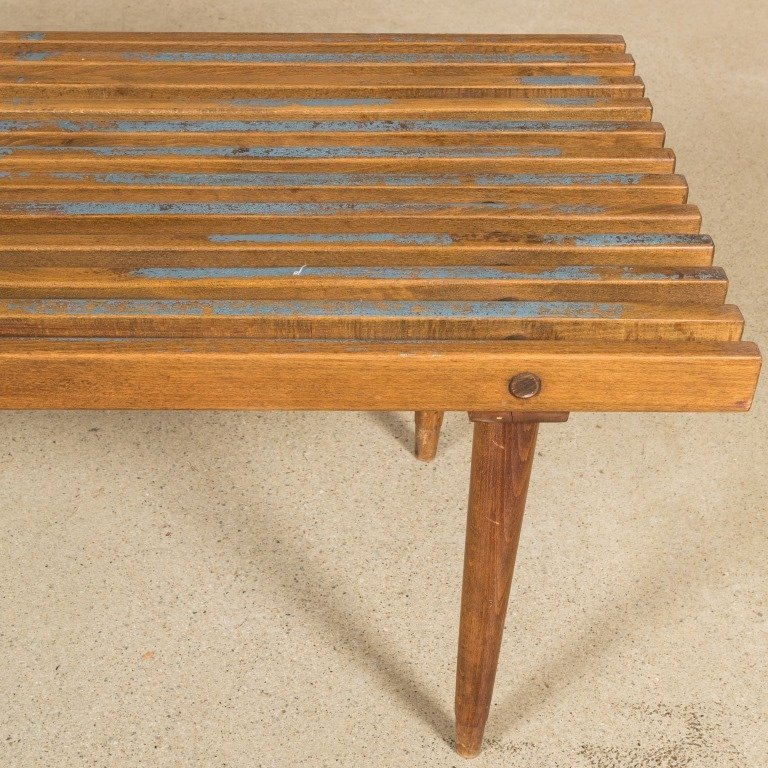Slatted Eames Style Bench with Original Cushions - 5