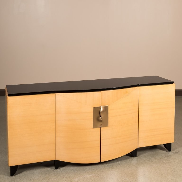 Lacquered Maple Credenza with Brass Handles