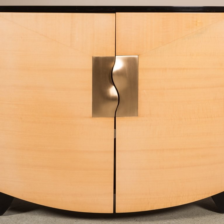 Lacquered Maple Credenza with Brass Handles - 2