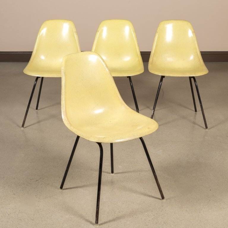 Four Signed Herman Miller Fiberglass Chairs