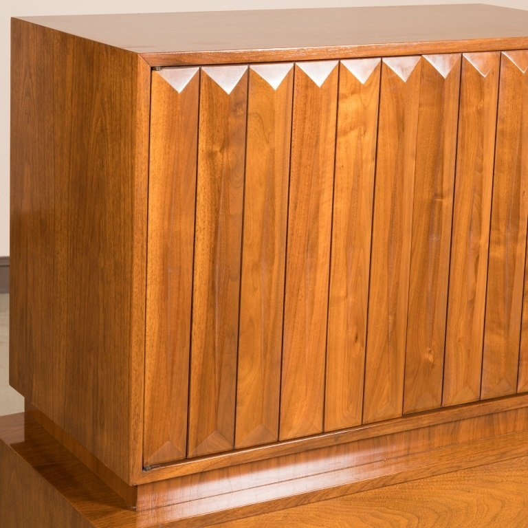 Walnut High Chest with Louvered Style Doors - 2