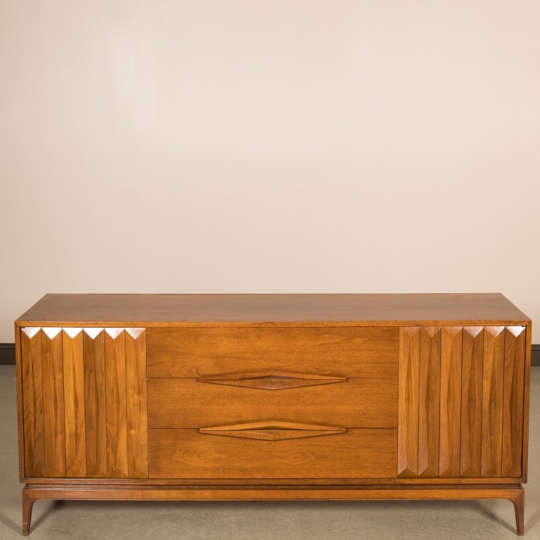 Walnut Triple Dresser with Louvered Doors