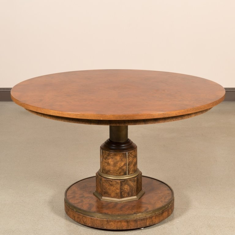 Burled Walnut Adjustable Center Table