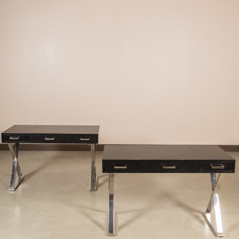 Pair Chrome and Lacquer Saw Horse Desks