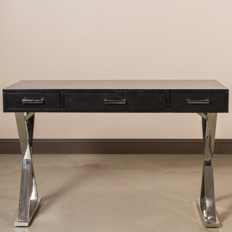 Pair Chrome and Lacquer Saw Horse Desks - 2