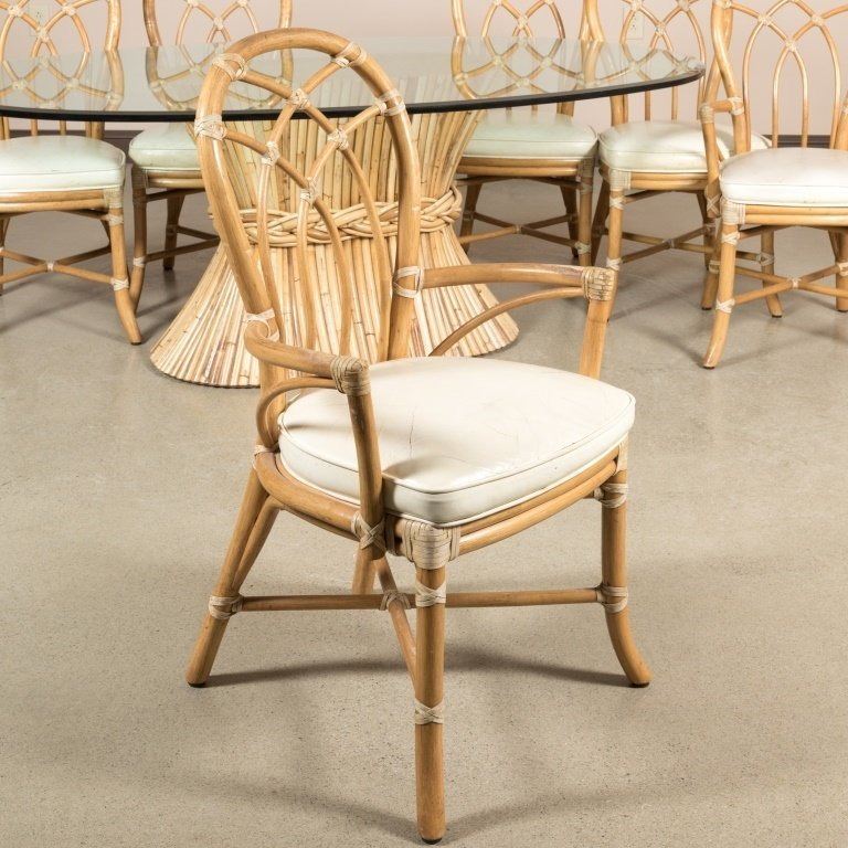 Mcguire Rattan and Glass Table and Chairs - 3