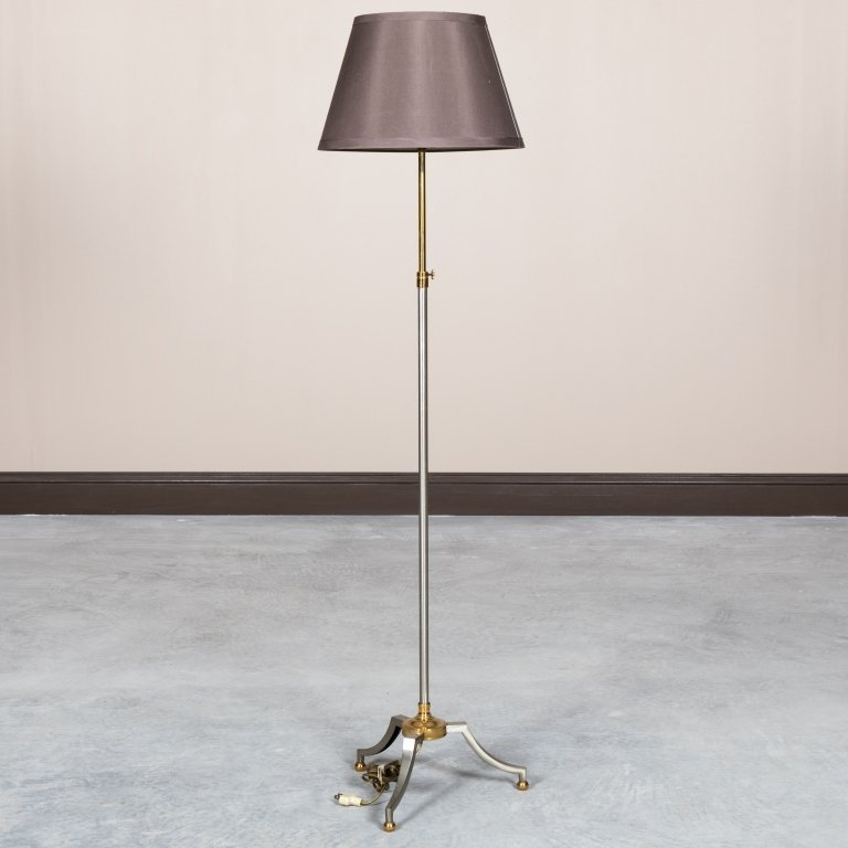 Mid Century Steel and Brass Floor Lamp