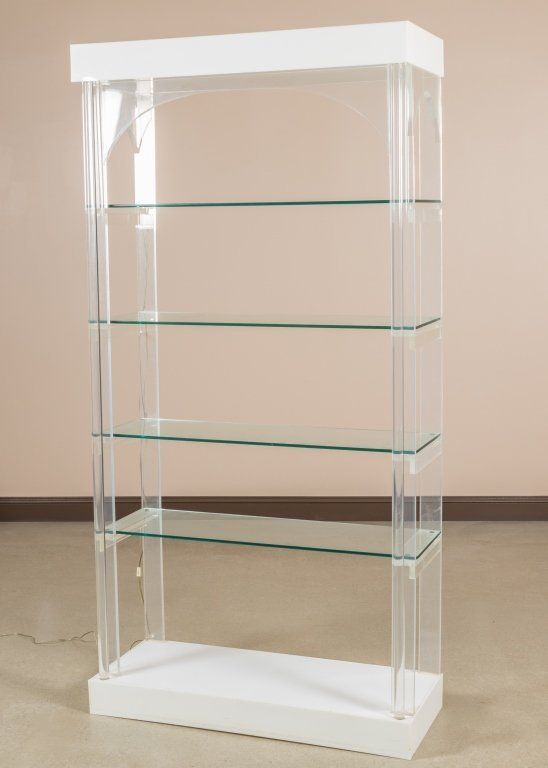 Lucite Lighted Glass Shelf Etagere
