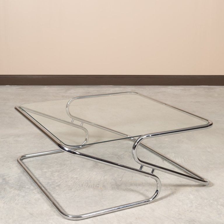 Mid Century Z Base Chrome and Glass Coffee Table