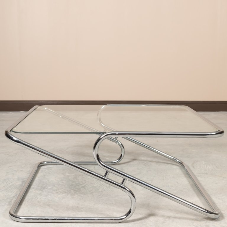 Mid Century Z Base Chrome and Glass Coffee Table - 2
