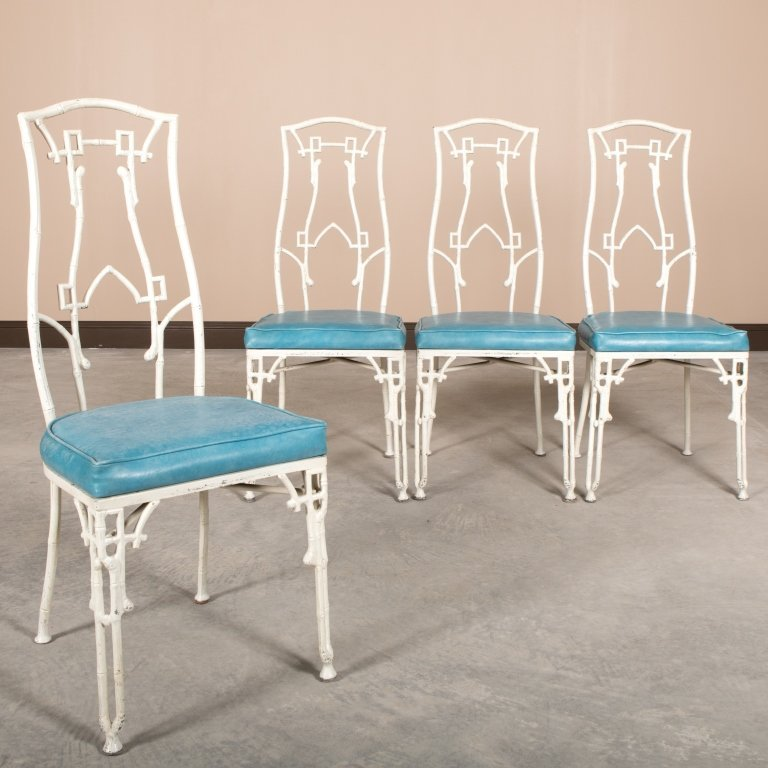 Set of Four Faux Bamboo Metal Dining Chairs