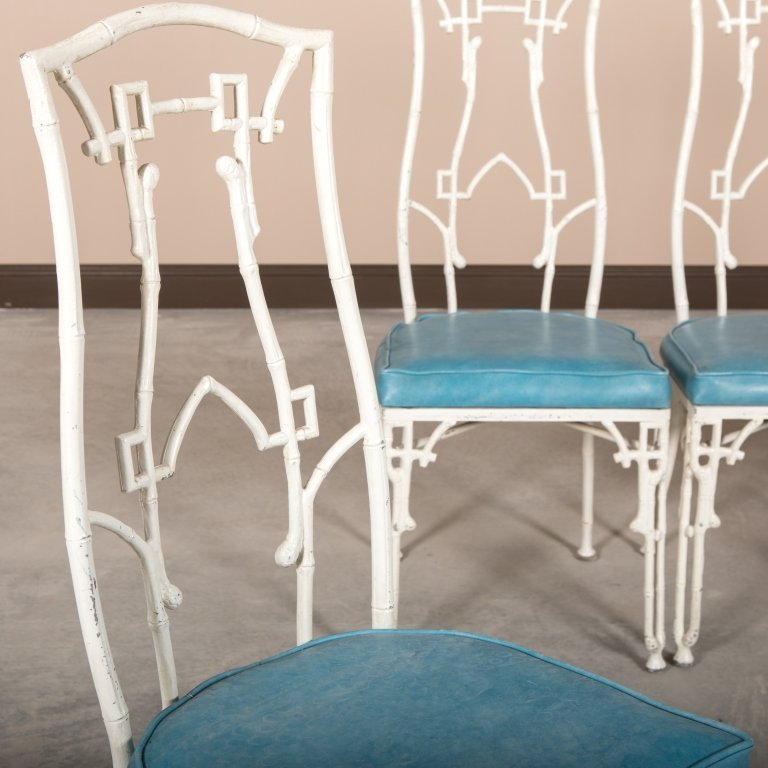 Set of Four Faux Bamboo Metal Dining Chairs - 4