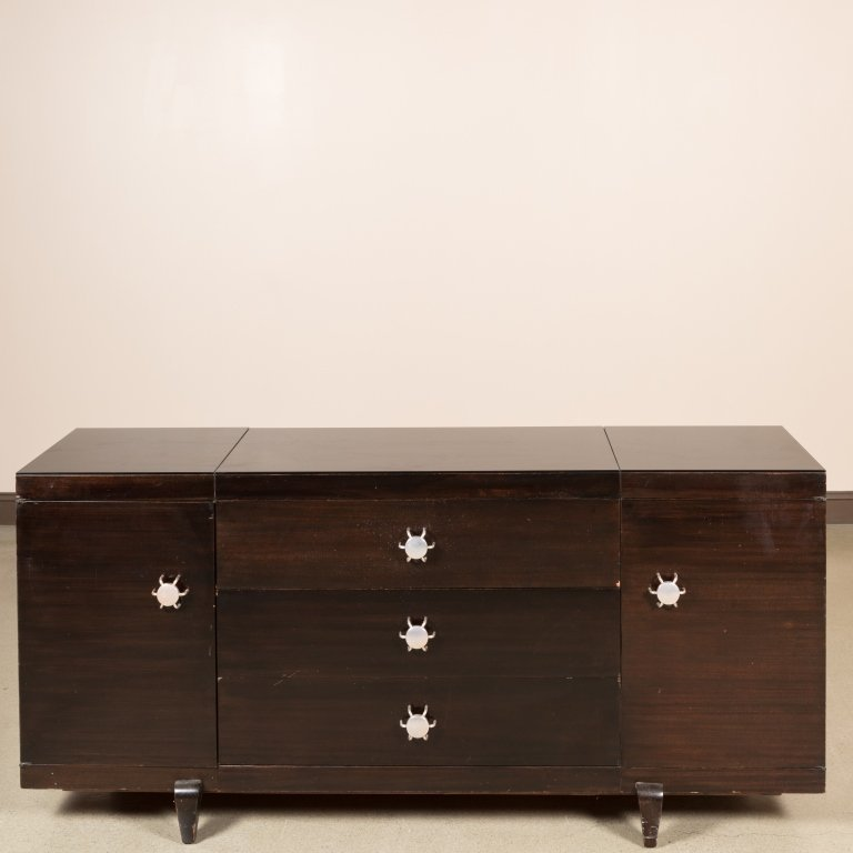 Multiplex Credenza by Martin Fenman with Glass Top