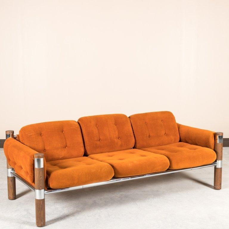Chrome and Walnut Velvet Sofa