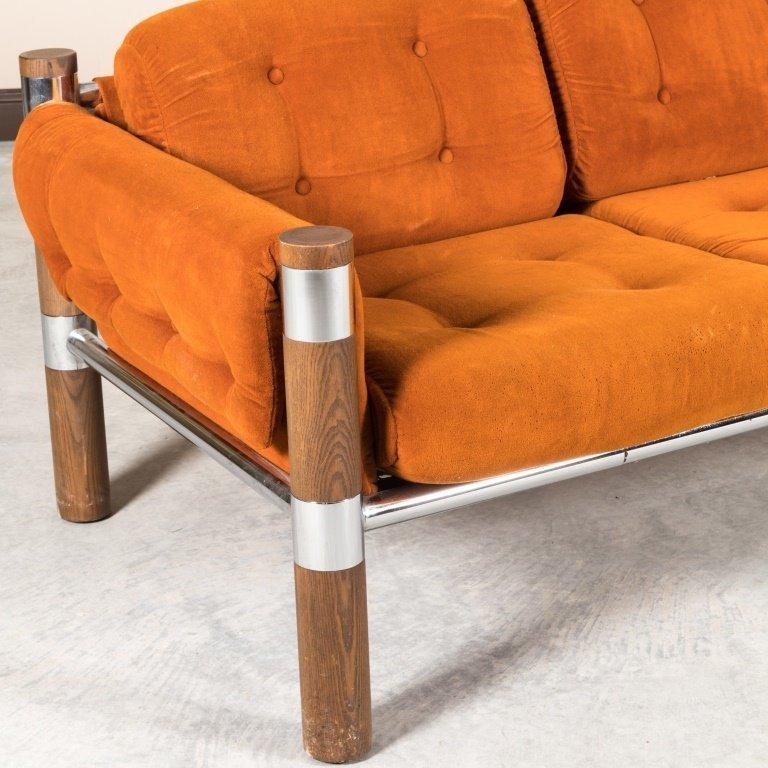 Chrome and Walnut Velvet Sofa - 2