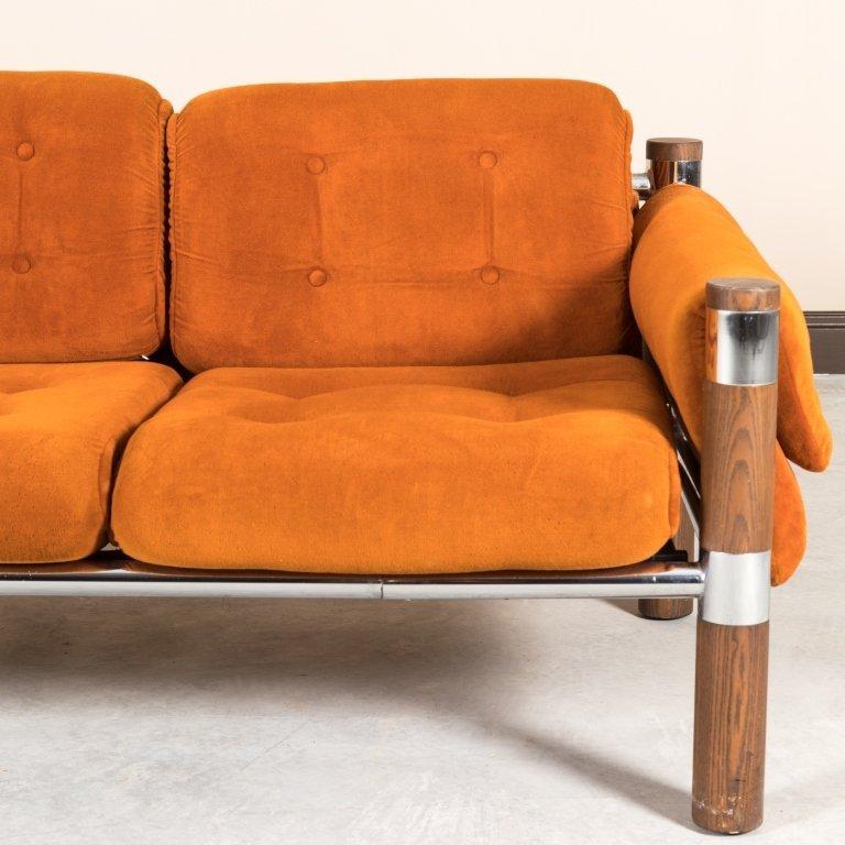 Chrome and Walnut Velvet Sofa - 3