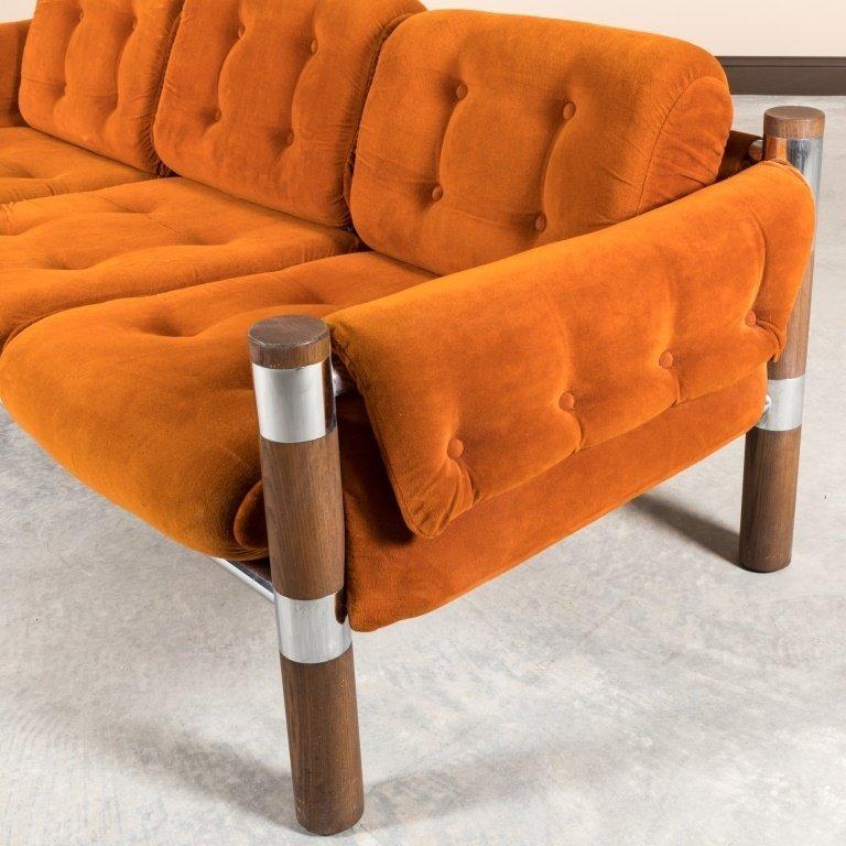 Chrome and Walnut Velvet Sofa - 4