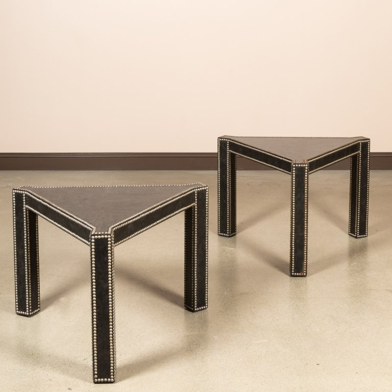 Pair Leather Wrapped Triangular End Tables