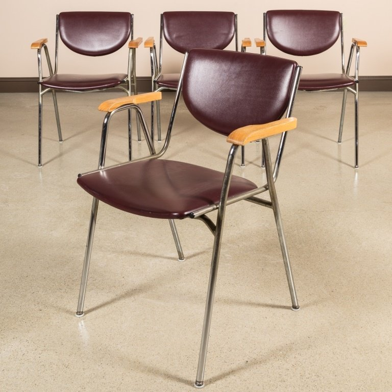 Group of Four Thonet Chrome and Leather Chairs